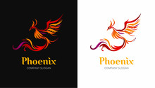 Phoenix Bird Illustration On Black And White Background