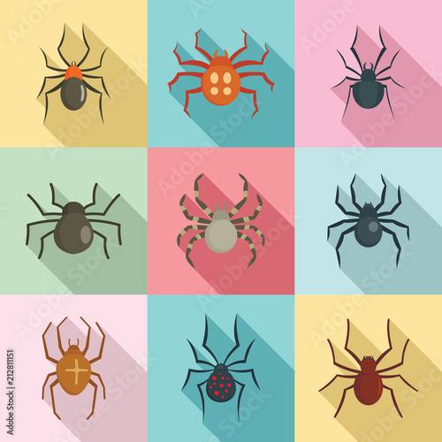 Spider bug caterpillar phobia icons set Canvas Print