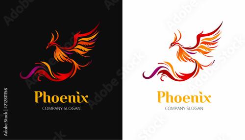 Photo  Phoenix bird illustration on black and white background