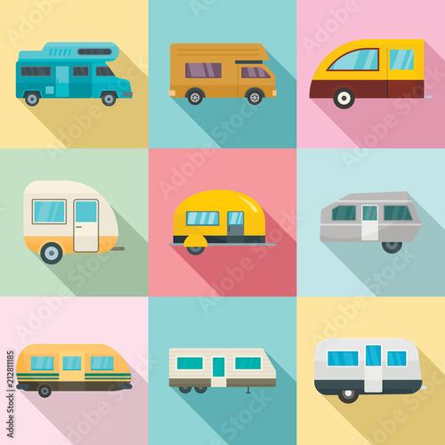 Fotografía Motorhome car trailer camp house icons set