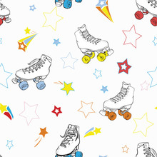Roller Skates With Stars In Rainbow Colors Vector Seamless Pattern Background.