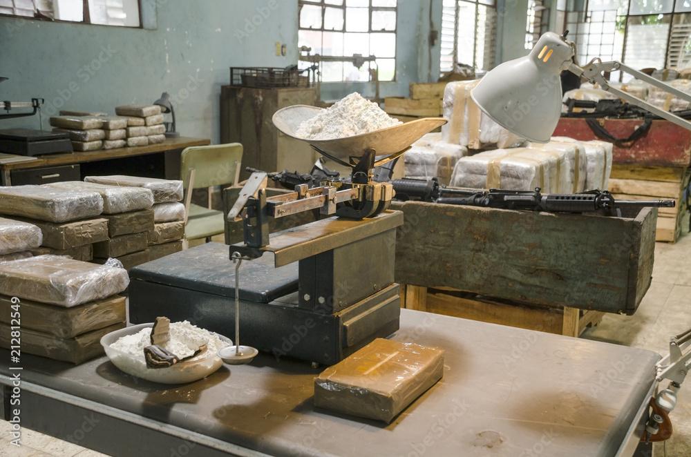 Fototapeta Cocaine warehouse Representation of an illegal drug warehouse