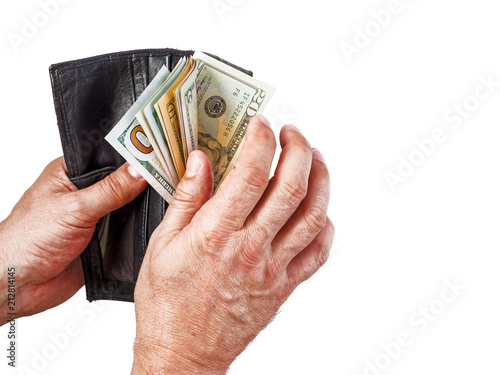 Vászonkép purse with money in the hands of men. Isolated on white
