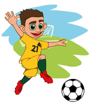A Cartoon Soccer Player Is Pla...