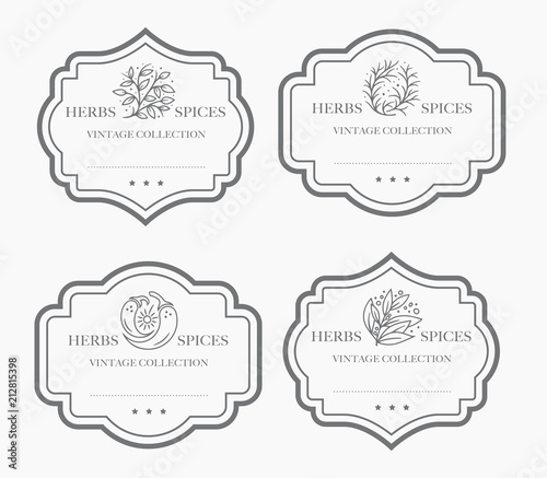 Konfigurowalna czarno-biała kolekcja etykiet Pantry.