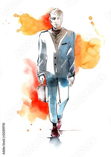 Spoed Foto op Canvas Schilderingen businessman
