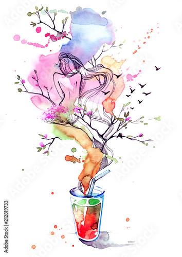 Spoed Foto op Canvas Schilderingen energy drink