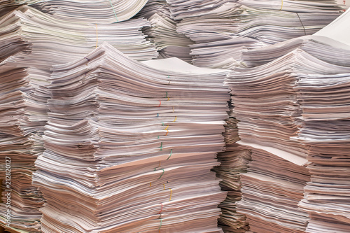 Fototapeta pile of paper documents in the office obraz