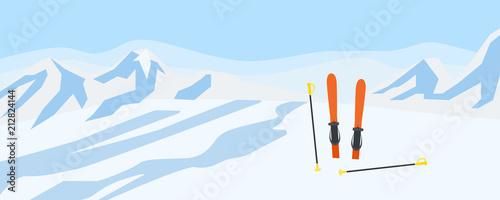Photo Ski on mountains snow concept background