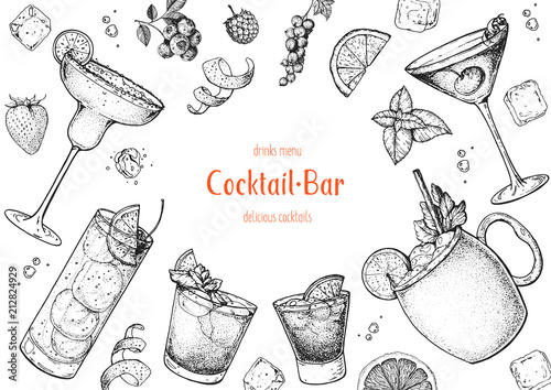 Fotografie, Obraz Alcoholic cocktails hand drawn vector illustration