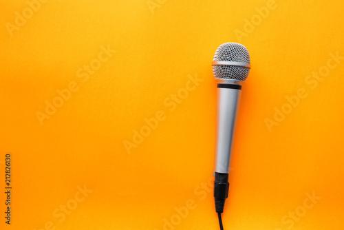 Fotografie, Obraz  Microphone on yellow background