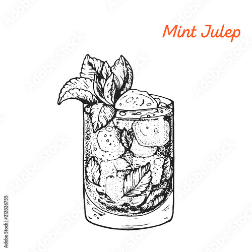 Valokuvatapetti Mint Julep cocktail illustration