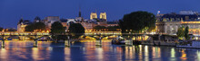 The Night View Of Seine River During The Night With Some Famous Touristic Bridges Like Pont Des Arts And Pont Neuf, Paris, France.