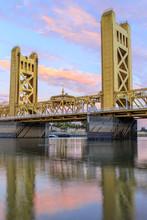 Sunset Over The Tower Bridge. Sacramento And Yolo Counties, California, USA.