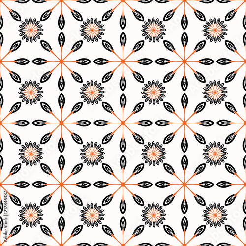 Retro Folkart Stars Vector Pattern Black Red Geometric