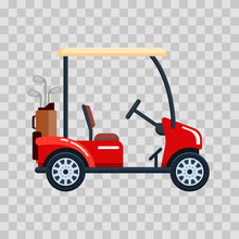 Vector Electric Golf Car With Golf Club Bag. Transport, Vehile On Transparent Background.