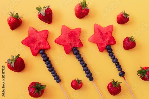 Fresh summer fruit flat lay