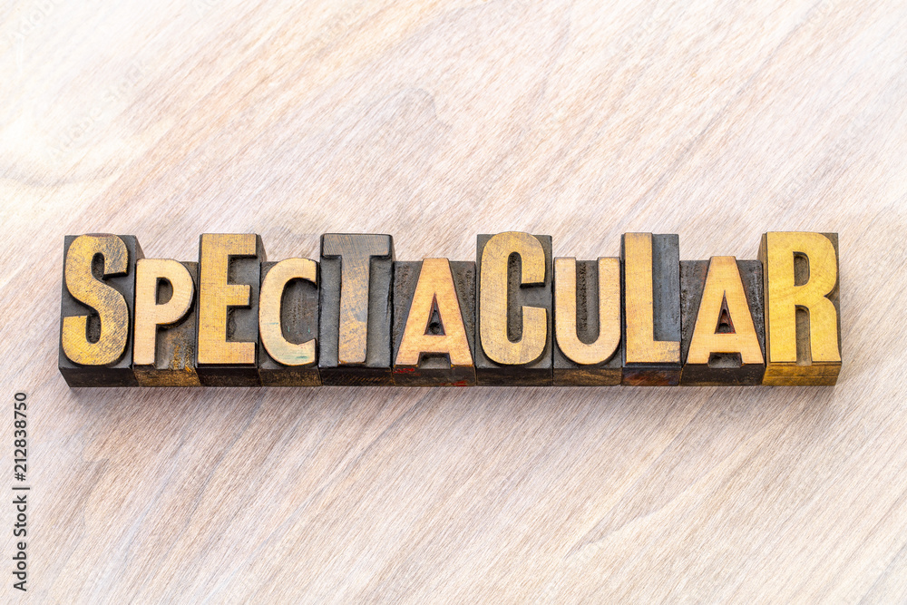 Fototapeta spectacular - word abstract in wood type