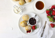 English Scones With Jam And Wh...
