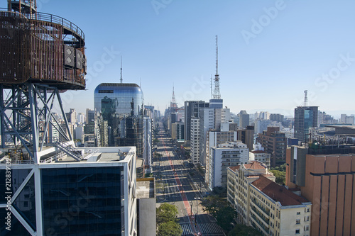 Paulista avenue in Sao Paulo. Aerial view of most famous avenue of Sao Paulo on national holiday morning on a sunny day. Important financial and business center of Brazil.