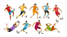Soccer Players. Sport Concept. Cartoon Vector Illustration