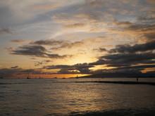 Sunset Clouds In Waikiki Beach Hawaii