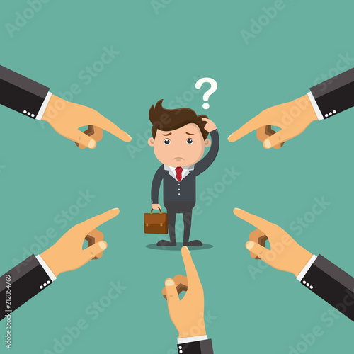 Fotografering Businessman being pointed by a lot of hands.Vector illustration.