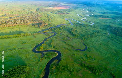 Foto op Canvas Luchtfoto Summer aerial landscape