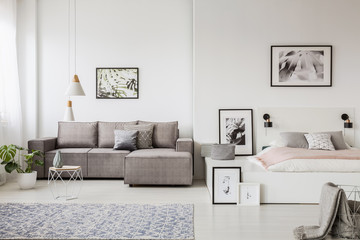 Obraz na Szkle Real photo of a grey couch standing next to a platform bed in spacious one room flat interior