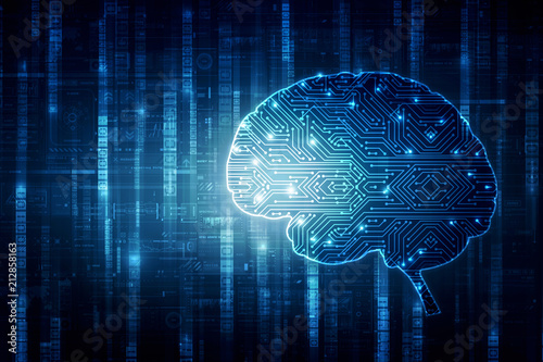 Photo  2d illustration Concept of thinking, background with brain, Abstract Artificial intelligence