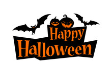 Happy Halloween Text Banner With A Bat And Pumpkins