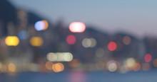 Blur Of City In Hong Kong At Night