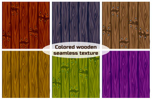 Big Set Seamless Background Texture Colored Wooden.