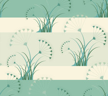 Wallpaper Seamless Tile With Stylized Umbels In Green Shades