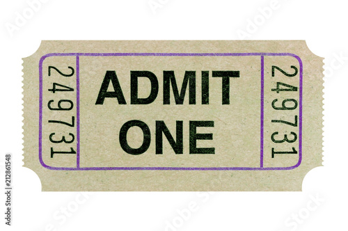 Old admit one ticket isolated white Wallpaper Mural
