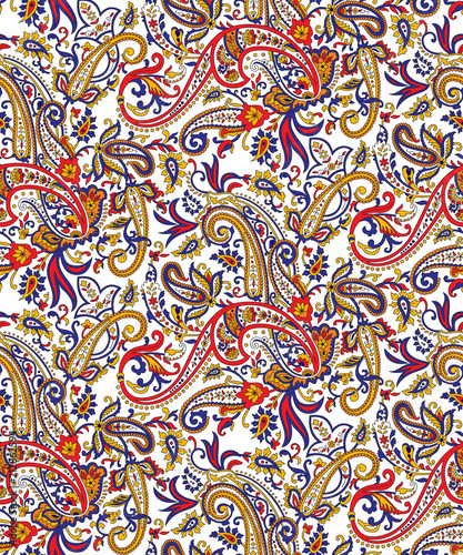 Seamless paisley pattern on white background