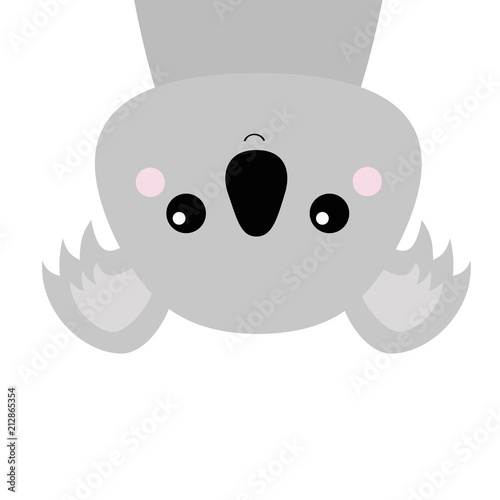 Naklejka premium Koala face head hanging upside down. Gray silhouette. Kawaii animal. Cute cartoon bear character. Funny baby with eyes, nose, ears. Love Greeting card. Flat design. White background Isolated.