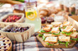 canvas print picture - photo outdoor picnic picnic, nature in the garden, snacks, cupboards, close-up