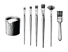 Vintage Paint Brushes Set And ...