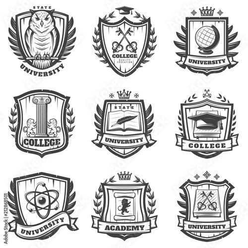 Photo Vintage Educational Coat Of Arms Set