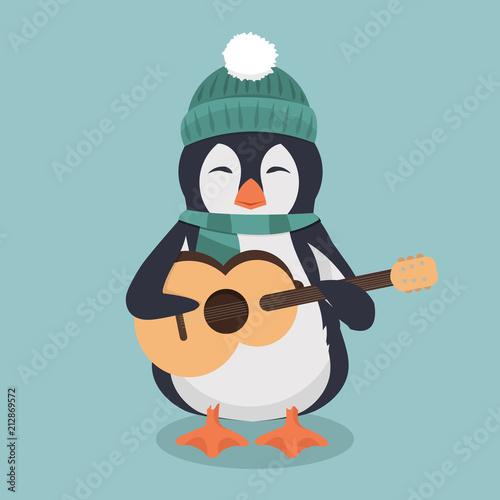 Fototapeta premium pingwin w zielonym kapeluszu i szaliku z gitarą