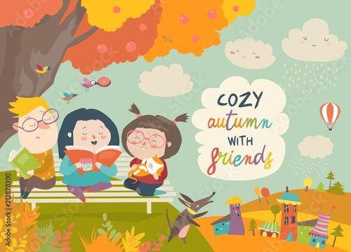 Szczęśliwe dzieci, czytanie książek w parku jesień