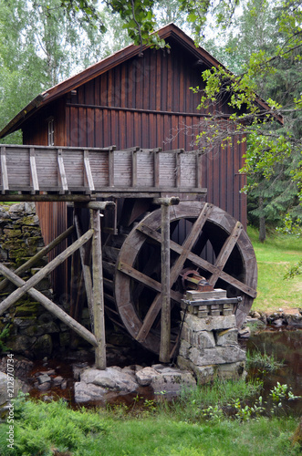 Poster Molens Watermill. One of the 2 working in Norway. Degerness,Norway