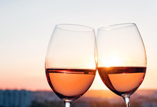 Two Glasses With Rose Wine At ...