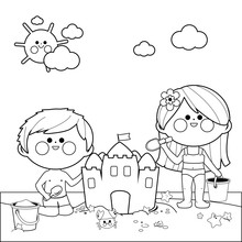 Children At The Beach Building A Sandcastle. Black And White Coloring Book Page