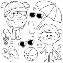 Children With Swimsuits And Hats. Beach Summer Vacation Design Elements. Black And White Coloring Book Page