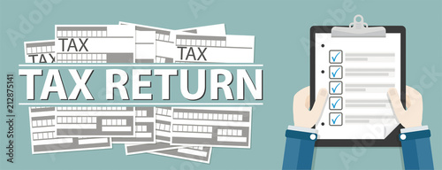 Obraz na plátně Hand Clipboard Checklist Tax Return Header