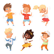 Dancing Childrens Male And Female. Set Vector Characters
