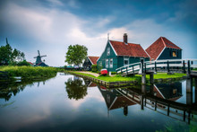 Historic Farm Houses In The Holland Village Of Zaanse Schans