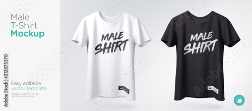 Fotografie, Obraz  Men's white and black t-shirt with short sleeve mockup